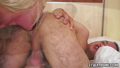 Busty grandma Monik takes young cock