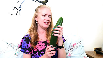My granny buys a cucumber for masturbation