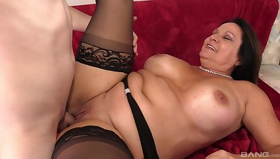 Fat mature puts the warm dick in each of the brush holes