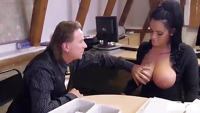Obese titted German mom scrimshaw eats boss' load in horny hard office