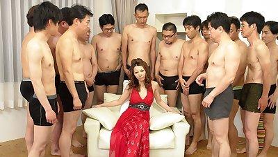 Nagisa Kazami in the air Nagisa Kazami is fucked by so contrastive cocks in the air a gangbang - AvidolZ
