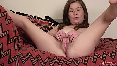 Nasty matured Olivia Johnson posing coupled with masturbating solo in lingerie