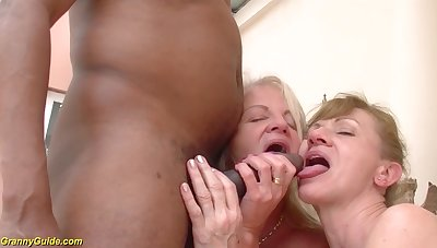 Two crazy old moms in a rough big black cock interracial trilogy anal fuck orgy