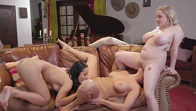 The slutty MILFs adore a nice threesome on the leather chaise longue