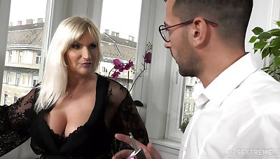 Take charge old rich woman Anna Valentina gets initiate with young gigolo