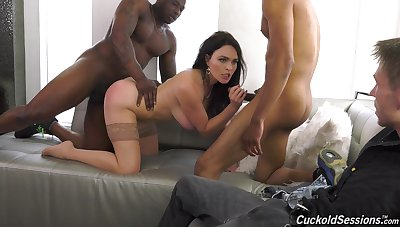 Dusky hunks fuck a wife while her hubby sits and watches