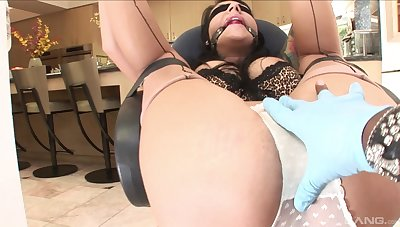 Aroused woman gets gagged increased hard by blind folded before being fucked hard by a BBC