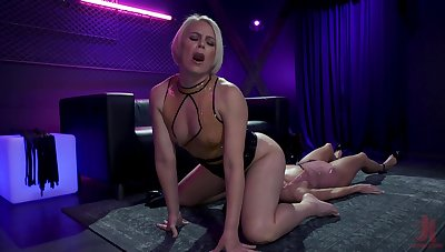 Hardcore lesbian BDSM blear featuring blond bit of skirt and Asian duteous Christy Reverence