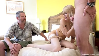 Freaky cuckold eats cum foreigner his lady's pussy, this blonde named Persuasion Law is so horrific