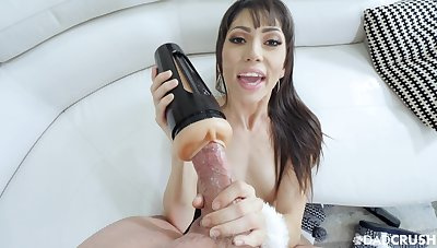 MILf uses fleshlight before putting her brashness on the monster