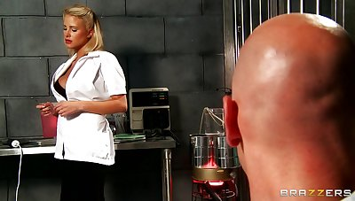 Lucky guy gets his dick pleasured by blonde nurse Jessica Nyx