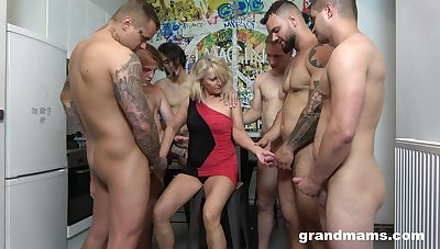 Retired whore Marta goes wild with several hot increased by young dudes