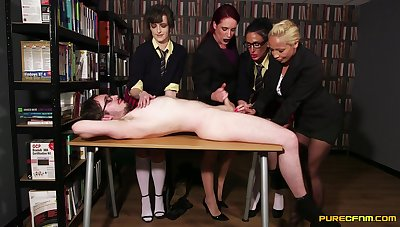 Extraordinary video in the office here four babes pleasuring one dig up