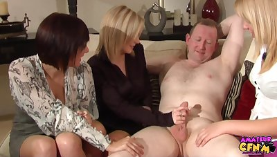Dude gets his shaft stroked by Lara Hanks coupled with in rotation hotties