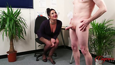 Chubby secretary Nicola Fondle takes a hard dick in say no to hands