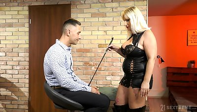 Dominant mature wants her nephew's dick in a seem like femdom play
