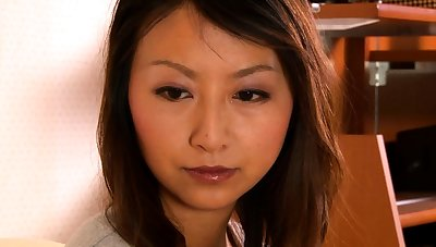 Hairy asian plays not far from the brush hairy pussy
