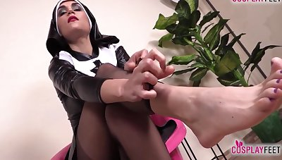 Sexy Nurse And Hot Nun Barefoot And In Stockings Feet Enactment