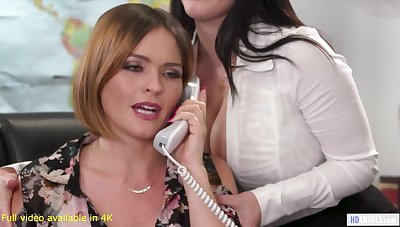 Sexy big-shot with big tits has a threesome with say no to employees going forward