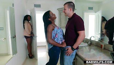 Pallid dude fucks ebony fixture and her sexy stepmom Mya Mays and Yasmine De Leon