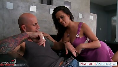 Lustful dad's girlfriend Rachel Starr gets into pants and sucks big cock