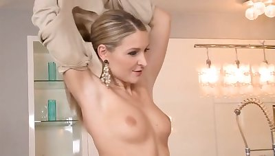 Desirable wife pounding her friend's husband just about the kitchen
