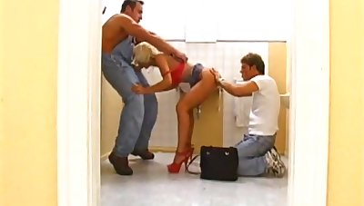Naughty blonde chick loves banging with two guys in two shakes of a lamb's tail b together