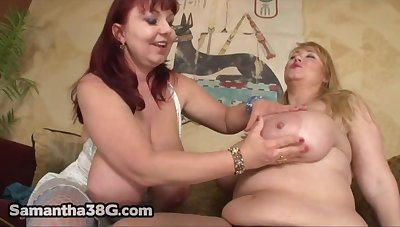 Roseate and Samantha 38G - BBW moms in lesbian command - beamy ass and monster tits