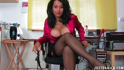 Naughty mature Danica Collins loves flashing her trimmed pussy