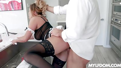 Bent over the counter maid with big ass Mia Leilani is pounded hard