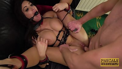 Gagged and brutally fucked for her first maledom show