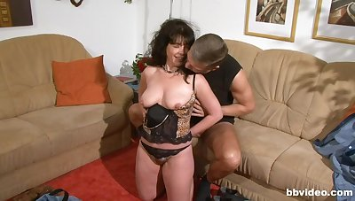 Humble boobs brunette gives a blowjob and gets fucked hard